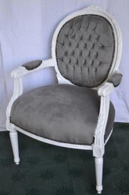 fauteuil de style louis xvi gris bois blanc. Black Bedroom Furniture Sets. Home Design Ideas